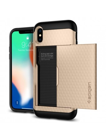 Spigen Apple iPhone X Crystal Wallet Cüzdan Kılıf Gold